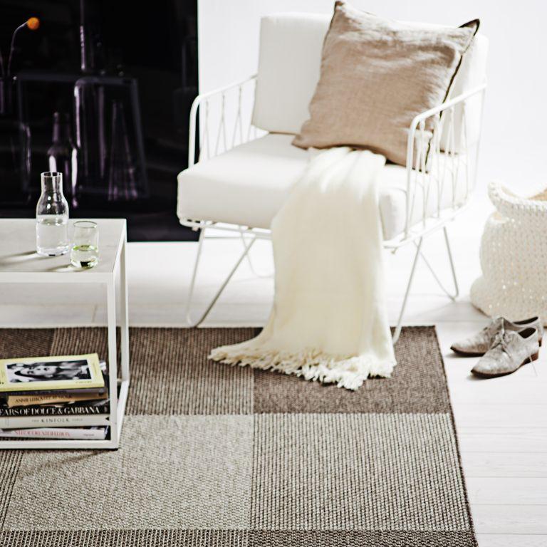 restposten flachgewebe teppich grazia dessin braun beige kariert 160x230 l ufer ebay. Black Bedroom Furniture Sets. Home Design Ideas