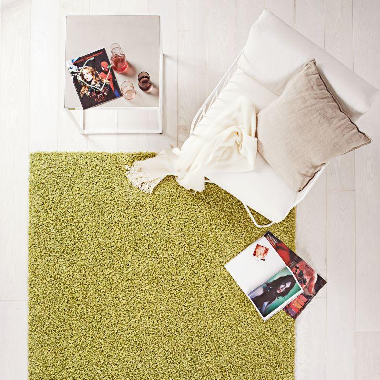 Restposten Hochflor Teppich Fashion Shaggy grün uni 60×115