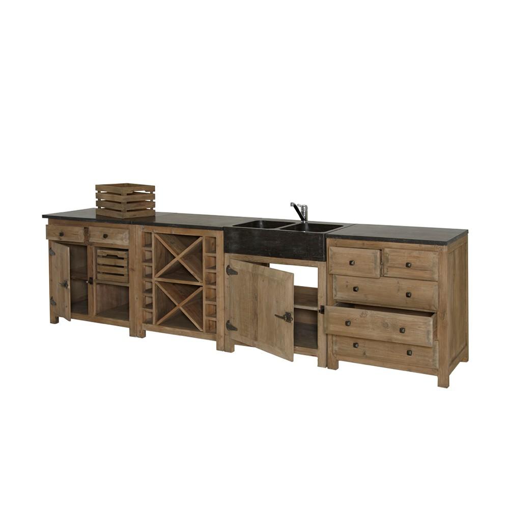 Kuchenzeile altes pinienholz recycelt steinplatte for Küchenzeile ebay