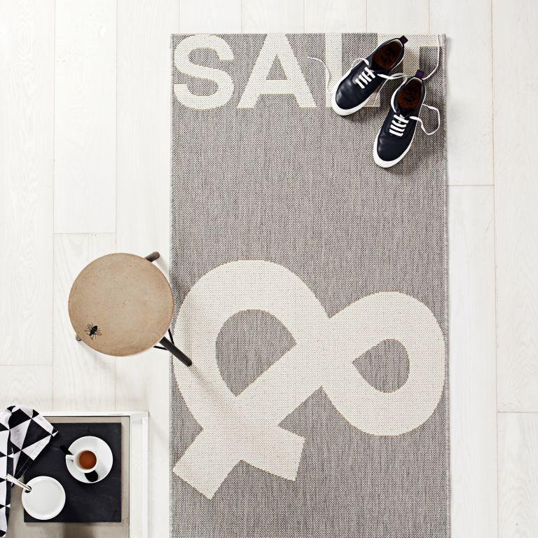 Restposten Flachgewebe Teppich Pfeffer & Salz grauweiß