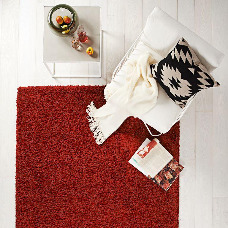 Hochflor Teppich 80×150 Luxus Shaggy rot uni Läufer  eBay