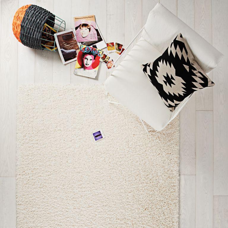 hochflor teppich 80x150 luxus shaggy wei uni l ufer ebay. Black Bedroom Furniture Sets. Home Design Ideas