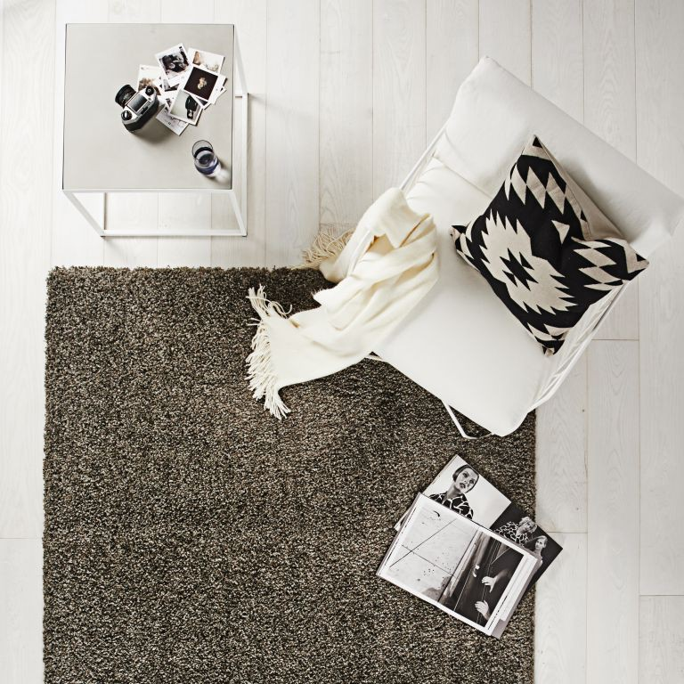 hochflor teppich 140x200 luxus shaggy grau braun uni l ufer ebay. Black Bedroom Furniture Sets. Home Design Ideas