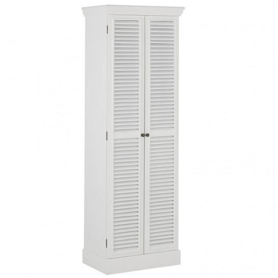 Schrank Mit Lamellentüren schrank weiß mit 2 lamellentüren und 7 fächern 60x180x40cm modell