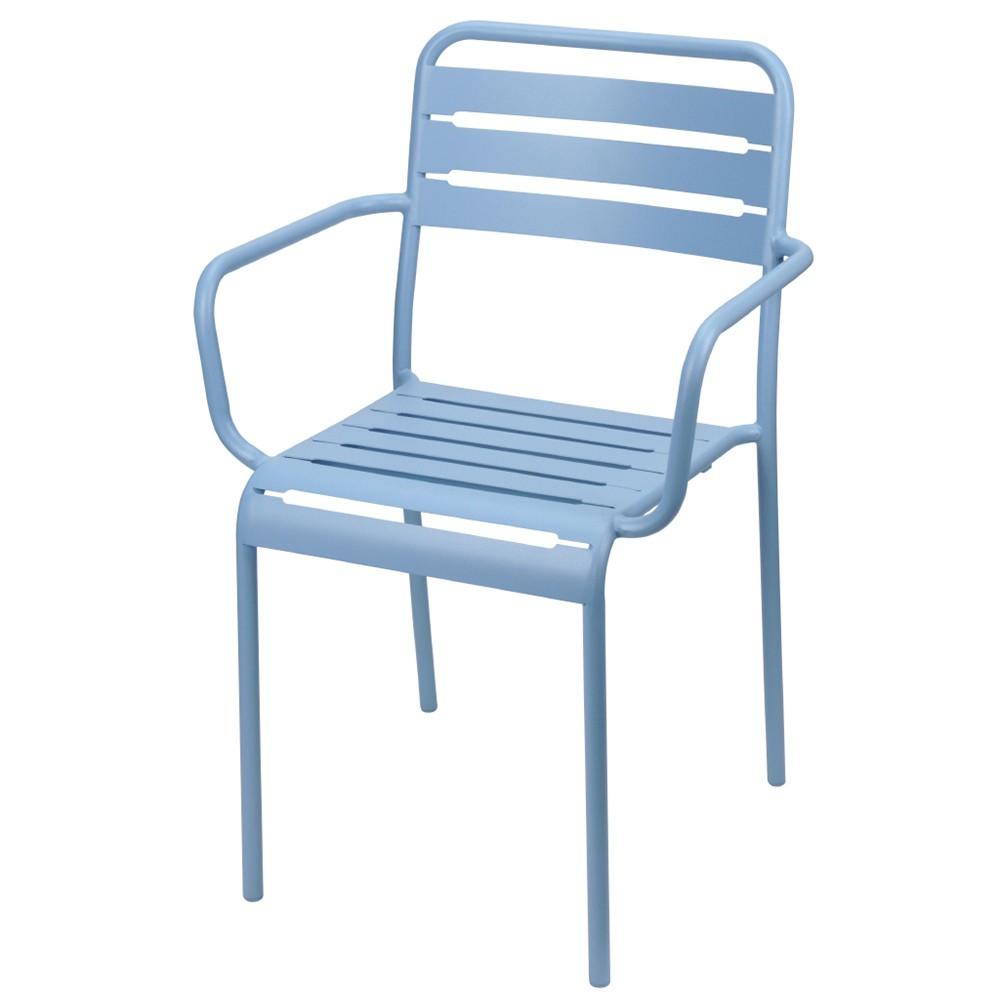 Stapelstuhl Metall Armlehnen blau Gartenstuhl stapelbar - Spring   eBay