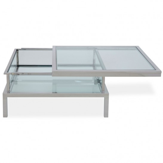 couchtisch quadratisch glasplatte verschiebbar metall edelstahl ablage moved ebay. Black Bedroom Furniture Sets. Home Design Ideas