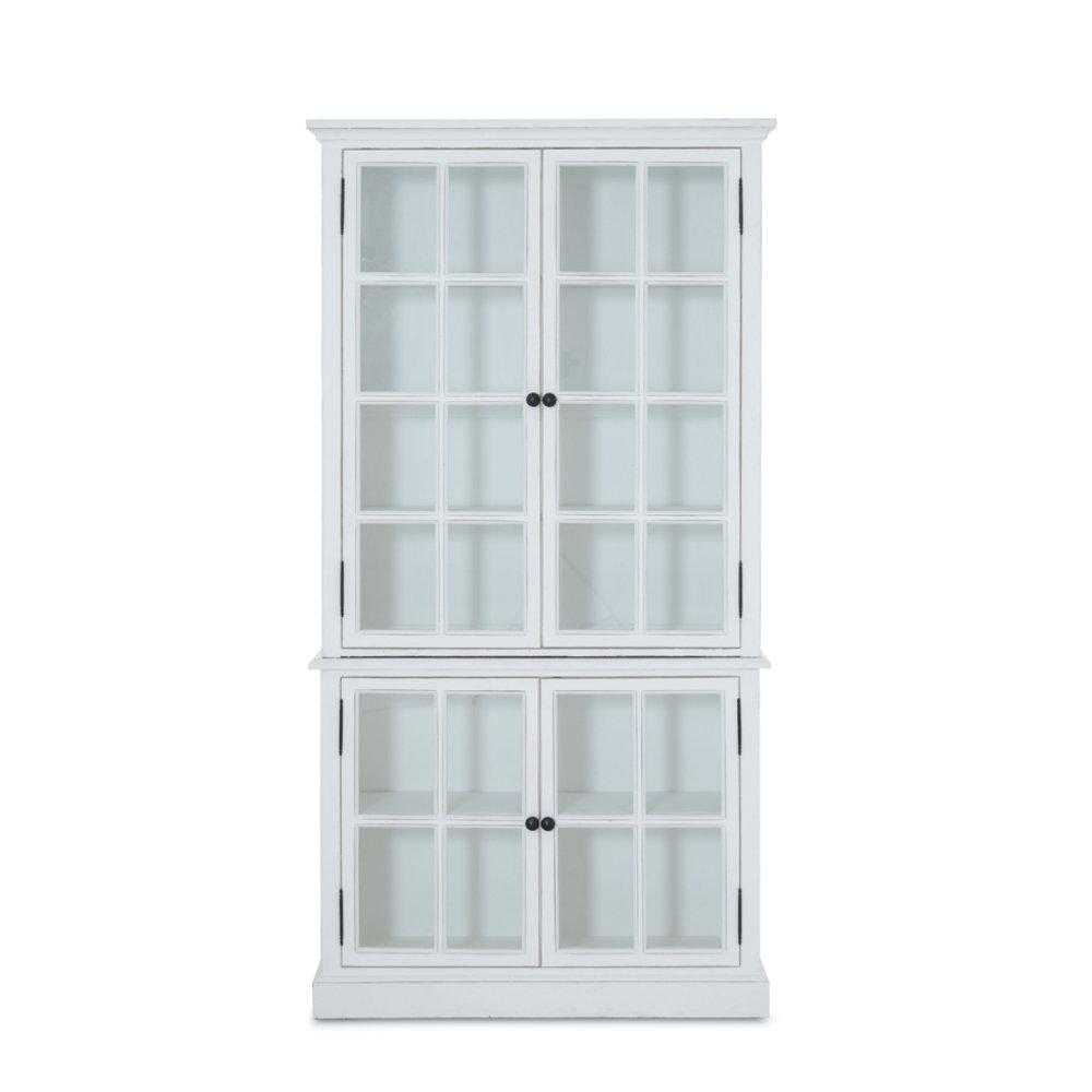 Vitrinenschrank Holz Glas Pinienholz weiß 4 Türen Sprossen ...